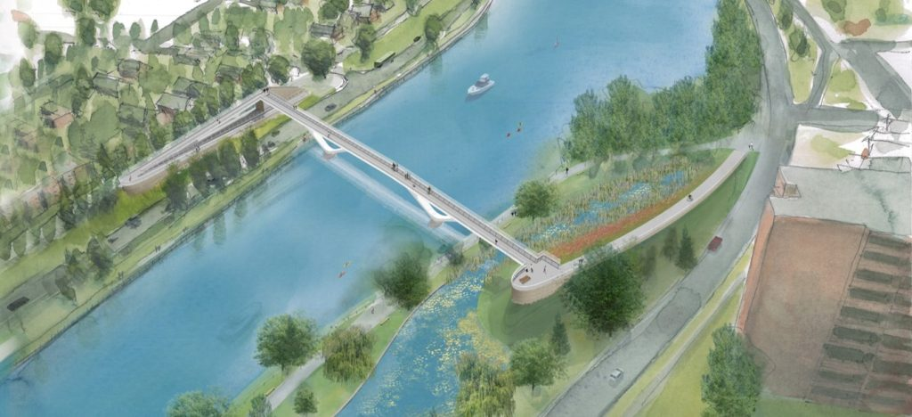An aerial view of the Fifth-Clegg footbridge t be built next year.