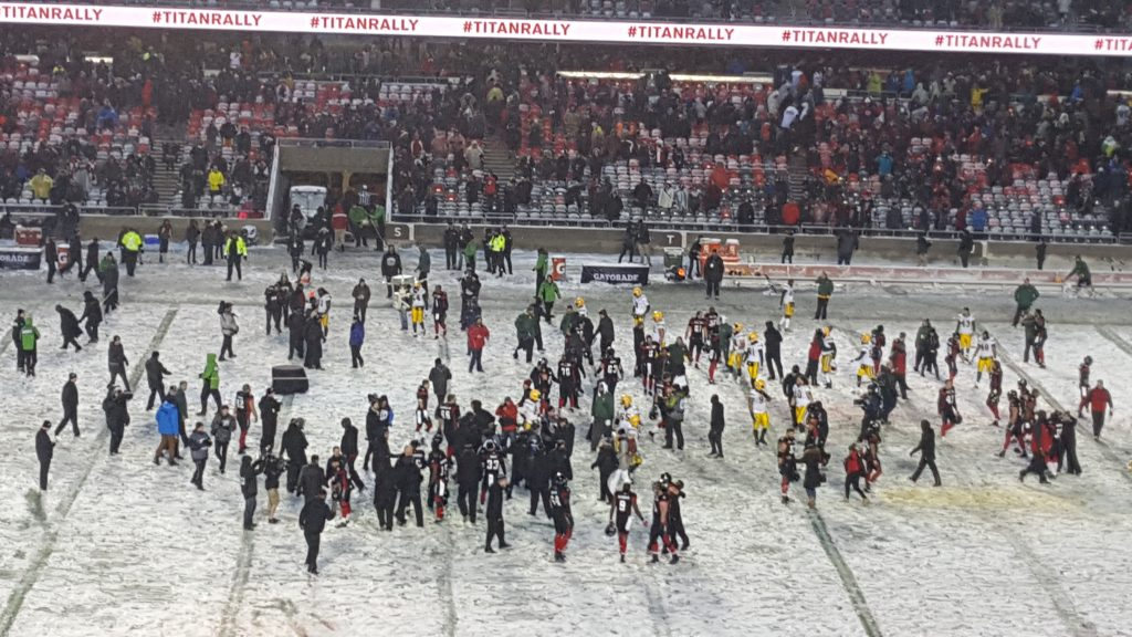 The Ottawa REDBLACKS celebrate at TD Place Sunday after defeating the Edmonton Eskimos in the CFL's East Final.