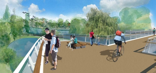 The footbridge will feature a lookout and seating areas for pedestrians.